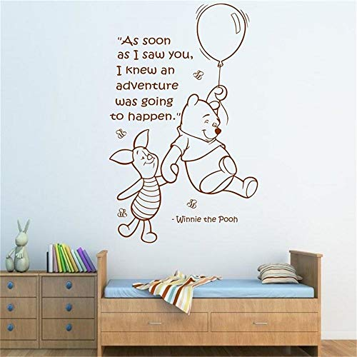 Sticker mural Winnie l'ourson Citation murale Winnie l'ourson Winnie l'ourson et Peggy Art filles garçons chambre de bébé sticker chambre d'enfant