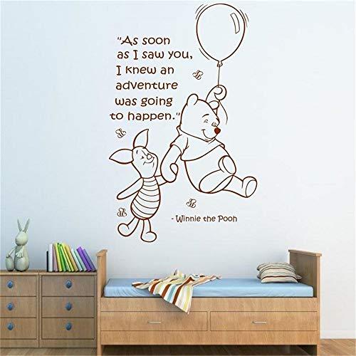 Sticker Winnie L'Ourson Citation Murale Winnie L'Ourson Winnie L'Ourson et Peggy Art Filles Garçons Baby Room Nursery Sticker