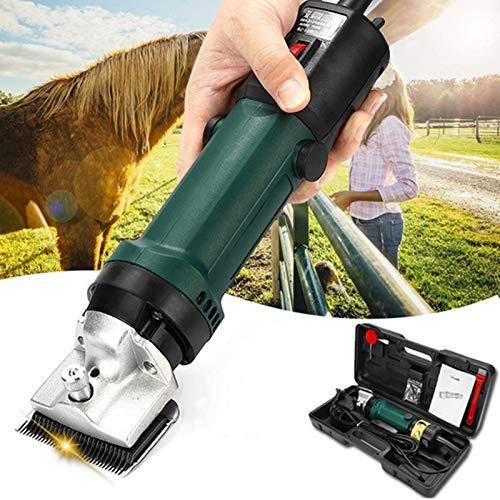 Ker Esquiladora eléctrica Profesional para Caballos, maquinilla de Caballo, 690 W y 6 velocidades Ajustables, máquina de Cortar Pelo de Animales Green