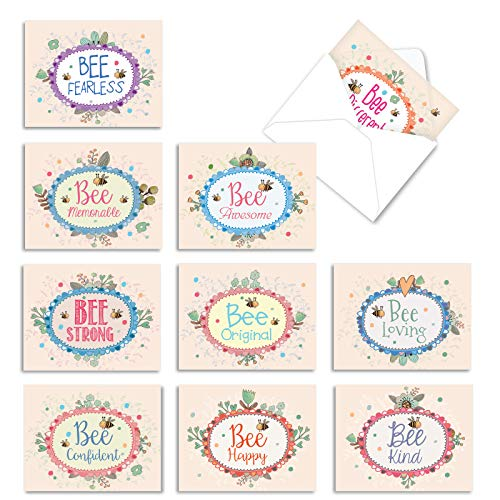The Best Card Company - 10 Blank Inspirational Note Cards Boxed (4 x 5.12 Inch) - Let It Bee M6548OCB