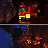 YUIOLIL Luz de Noche para la mesita de Noche Sala de Estar, Tetris 7 Colores Apilable Tangram Puzzle Led Lámpara de Escritorio 3D Juguetes para la decoración de la Oficina en casa