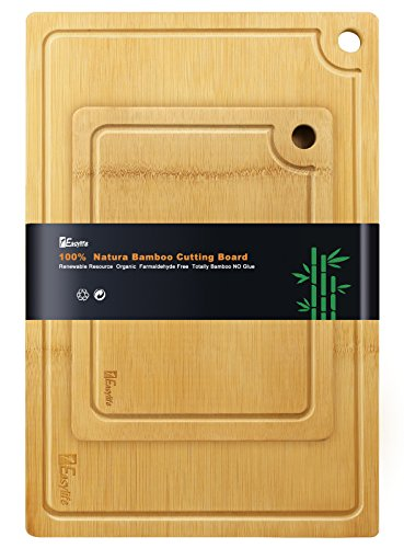 1Easylife Organic 2-Piece Bamboo Cutting Board, Extra Large & Medium Size Set, All-Natural and 100% Anti-Bacterial, Perfect For Meat & Veggie Prep