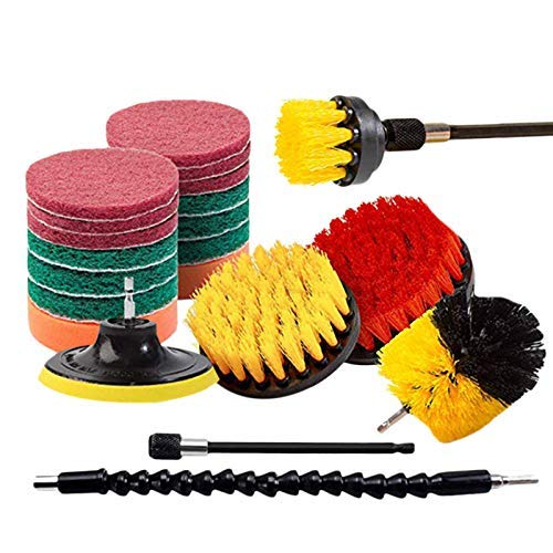 ZKS-KS 21 Piece Drill Brush Attachments Set Scrub Pads Sponge Power Scrubber Brush with Rotate Extend Long Attachment All Purpose Clean for Grout Tiles Sinks Bathtub Bathroom