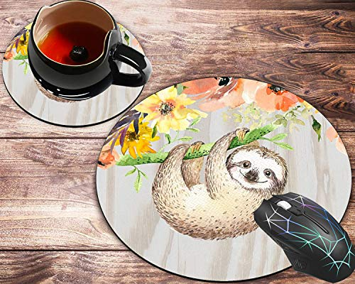 Round Mouse Pad and Coasters Set, Floral Animal Sloth Personalized Sloth Mousepad, Non-Slip Rubber Round Mouse Pad, Customized Mouse Mat for Working and Gaming