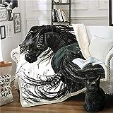 FUMOJI Kuscheldecke Flauschig 3D Schwarz Pferd Wohndecke Fleecedecke Weich Sofadecke für Kinder Jungen Mädchen (150x200cm)