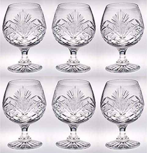 Crystal - Sherry - Brandy - Cognac - Snifter - Glasses - Set of 6 - Handcrafted - Crystal Glass - Great for Spirits - Drinks - Bourbon - Wine - 11 ounce - Made in Europe - by Barski Crystal Glass Sherry Glass
