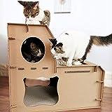 HI SUYI Karton-Kratzbaum Katzenhaus Spieltunnel Haus mit Kratzbaum DIY Pappe faltbar für Innen Kätzchen zum Ausruhen und Spielen
