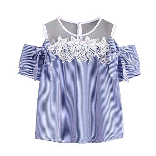 Hemd Damen Kolylong® Frauen aus Schulter Spitze gestreifte Bluse Sommer lässig Kurze Ärmel T-Shirt Tanktops Mode Hemd Sommerkleidung (S, Blau)