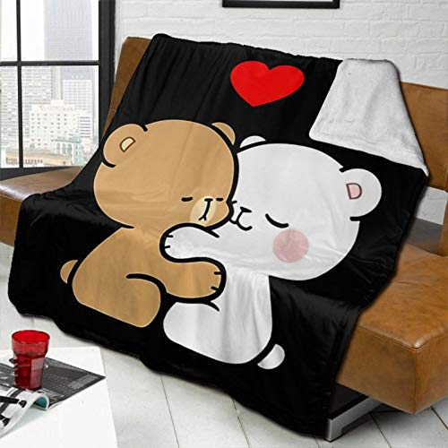 "NANXIAN Milk and Mocha Bears Stylish Blanket Throw for Sofa or car 60"""" x50"