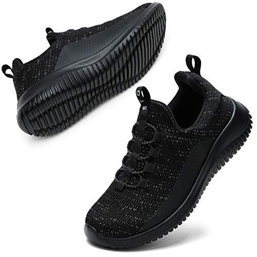 STQ Turnschuhe Jungen Sneaker Mädchen Leichte Hallenschuhe Atmungsaktiv Kinder Sportschuhe Alles Schwarz 35 EU
