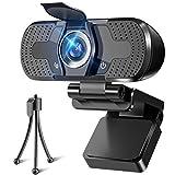WEBカメラ ウェブカメラ HD1080P 200万画素 三脚/盗撮防止カバー付き 高画質パソコンカメラ ワイドサイズ対応 自動フォーカス 内蔵マイク ウェブカム skype会議用PCカメラ Windows 10/8 / 7 Mac OS X, Youtube (W8ブラック)