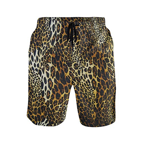 WIHVE Men's Beach Swim Trunks Leopard Print Boxer Swimsuit Underwear Board Shorts with Pocket