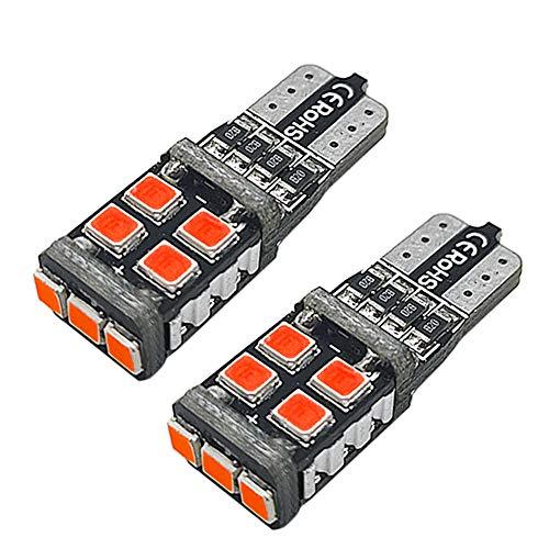 Ruiandsion 194 bombillas LED rojas superbrillantes 2835 11SMD Chipsets 12V 168 2825 175 T10 W5W CANBUS LED Bombillas de repuesto para interior de coche, domo, mapa, puerta de cortesía (2 unidades)