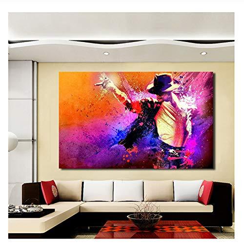 Suuyar Michael Jackson Porträt von Tanz Leinwand Kunst Wandbilder für Wohnzimmer Malerei Home Decor Printed-50x100cm No Frame