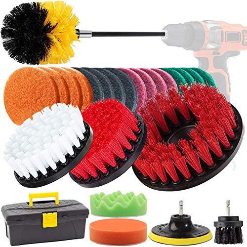GOH DODD Drill Brush, 26 Pieces Power Scrubber with Scrub Pads, Polishing Pads and Long Reach Attachment in Box for Bathroom Shower Scrubbing, Carpet Cleaning, Grout Scrubbing, and Tile Cleaning