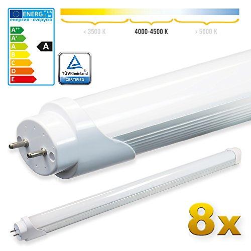 LEDVero 8x SMD LED Tubo 60 cm Certificazione TÜV Bianco neutro - Tubo fluorescente T8 G13 - Cover opalino 8 W, 800 Lumen- pronto per l'installazione