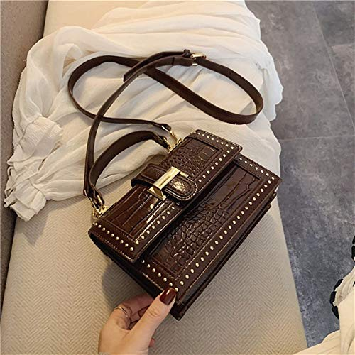 T-ara El Nuevo Rivet PU Leather Messenger Bag Women Fashion One Shoulder Simple Bag Women Travel Bolsos y Bolsas de Las señoras Bolsas Imprescindible para el Senderismo