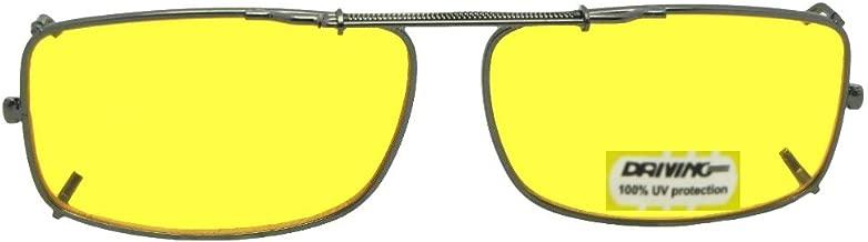 Slim Rectangle Non Polarized Yellow Lens Clip on Sunglasses