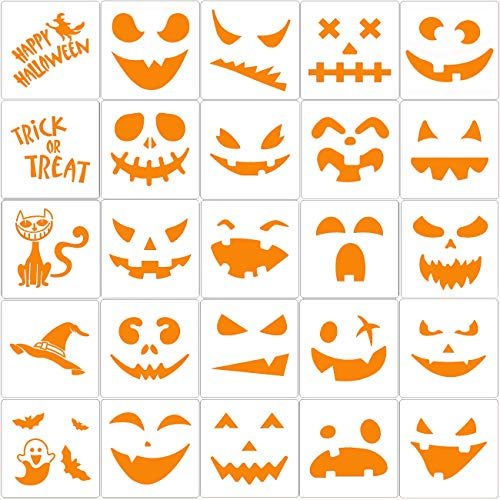25 Pieces Halloween Drawing Stencils, Pumpkin Faces Stencil for DIY Pumpkin Carving, Reusable Painting Templates for Kids
