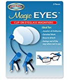 Magic Eyes Clip-On Eye Glass Magnifier - Easy to Attach and Swing Out - Perfect for Detailed Craft Work, Jewelers, Hobbyists and Inspecting Very Small Objects or Markings- (2 Pieces)