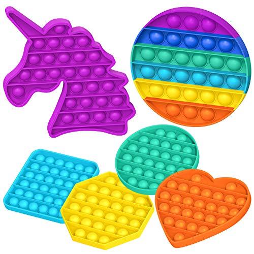 KOUQIYA Push Pop Bubble Sensory Fidget Toys,6 Pack Pop Fidget Toy Set Anti-Anxiety Stress Relief Toys for Kids,Colorful Rainbow Unicorn Heart Circle Round Square Octagon
