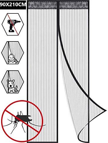 Mosquitera Magnética Cortina Antimosquitos Pantalla Magnética Suave Cifrado De La Puerta Silencio Raya Antimosquitos Partición Del Hogar Cortina Antimosquitos Autocebante (90x210CM)
