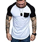 Big Sale! Tops for Men Quick Dry Slim Fit Patchwork Color Blocking Pocket Short Sleeve Summer Tee T-Shirt Top Blouse