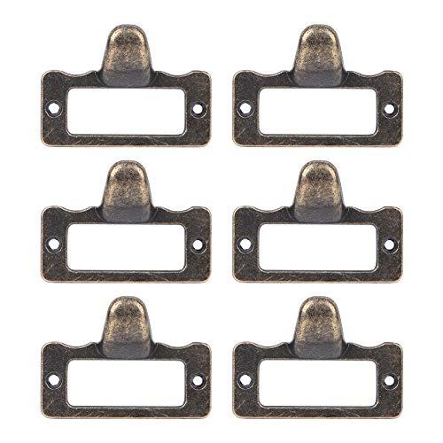 Fdit 6 uds perillas de cajón de Etiqueta de Bronce Antiguo Tiradores manijas Titular de Tarjeta de Nombre de Archivo Tiradores de Armario de Medicina