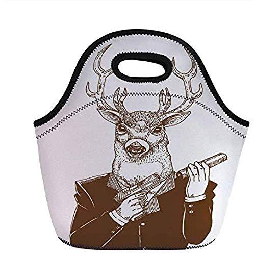 Moderne, rendier man in pak met een wapen maffia humor wild leven artistieke Illustratie, roodhout wit Umber, voor kinderen volwassen thermische Tote Bags