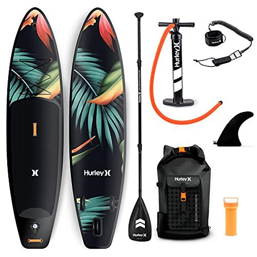 Hurley PhantomTour - Tabla de remo de pie con mochila, bomba de aire, pala flotante ajustable, correa en espiral, aleta y kit de reparación (paraíso)