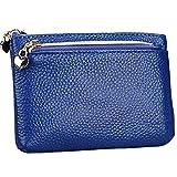Mini Portafoglio in Pelle Piccolo Portamonete Borsa con Protezione RFID 3 Scomparto Capiente Porta Banconote e Tessere Pochette Pelle Blu