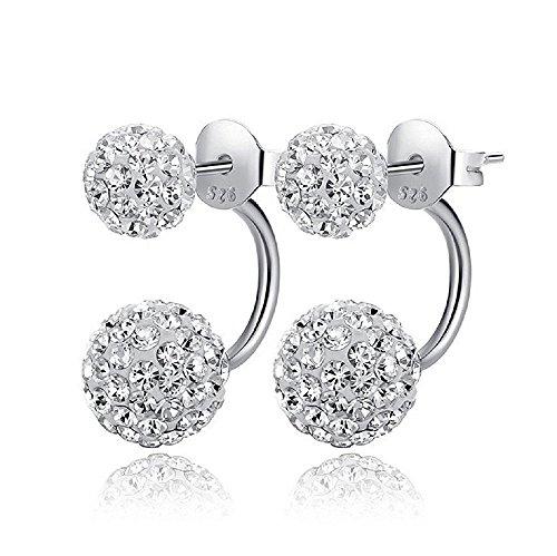 Fletion da ragazza da donna elegante S925in argento Sterling con doppia sfera orecchini cristallo scintillante strass diamante cluster orecchini da sposa per regalo di compleanno party Dating daywear