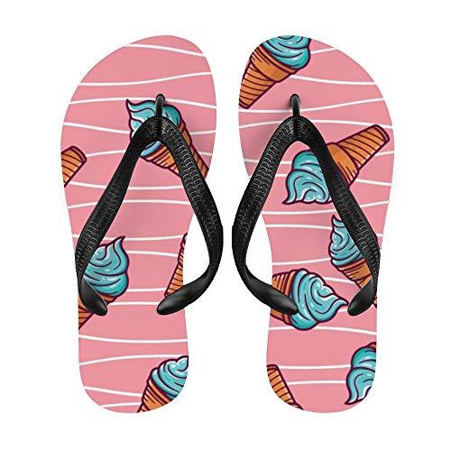 Dessert-/Eiscreme-Zapfen, Flip-Flop-Strand-Sommer-Hausschuhe für Damen und Herren, niedliches Cartoon-Design, - Niedlich 1 - Größe: Medium