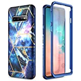 SURITCH Marble Case for Samsung Galaxy S10,[Built-in Screen Protector] Full-Body Protection Shockproof Rugged Bumper Protective Cover for Samsung Galaxy S10 6.1 Inch (Space Blue)