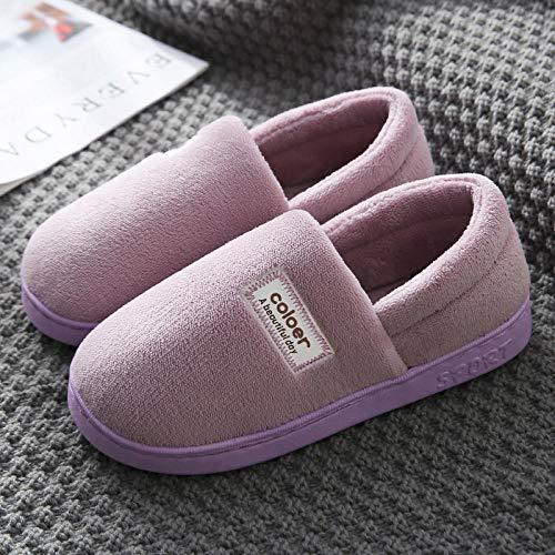 Pantofole di cotone Riscaldamenti interni invernali Più pantofole di coppia in velluto Pavimento antiscivolo per famiglie Comodo pantofola di lino di cotone casual Uso interno-42-43_ [Pacchetto] viola