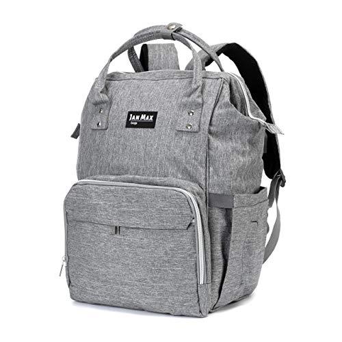 Jan Max Mochila cambiador, bolso cambiador, bolsa de pañales con cambiador y puerto USB para hombres y mujeres, gris