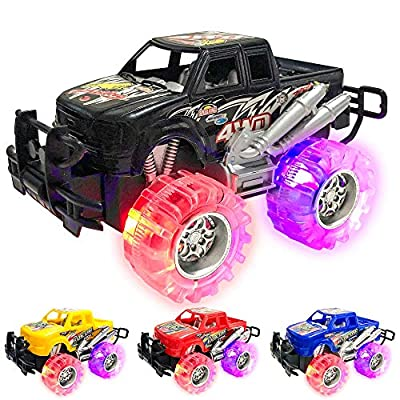 Light Up Monster Truck Set for Boys and Girls by ArtCreativity - Set Includes 4, 6 Inch Monster Trucks with Beautiful Flashing LED Tires - Push n Go Toy Cars Best Gift for Kids - for Ages 3+ by ArtCreativity