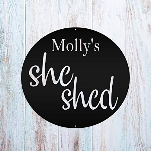 Tamengi Personalized She Shed Metal Sign Wall Hanging Wall Address Plaque Room Decor Monogram Wall Art Outdoor Indoor Metal Sign 18inch