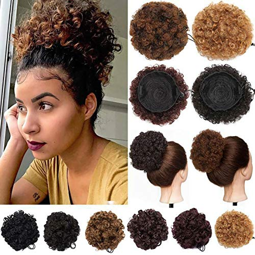 Afro Puff Drawstring Ponytail Short Kinky Curly Hair Bun Extensions Donut Chignon Hairpieces Wig Updo Hair Extensions with Two Clips Size L - 65g Light Auburn