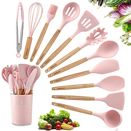 VIVAYO Silicone Cooking Utensil Kitchen Utensils Set, 12 Pieces Silicone Kitchen Utensil Wooden Handles, Kitchen Spatula Sets with Holder Spoon Turner Tongs, Pink