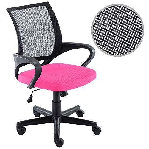 BAKAJI Poltrona Sedia Scrivania Ufficio Presidenziale in Tessuto Rete Traspirante Rotazione 360 Gradi Direzionale Altezza Regolabile (Rosa Nero)