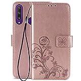 FANFO® Custodia Flip per Huawei Y6p, 3D Fortunato Fiore Cover, Custodia a Portafoglio in Pelle...