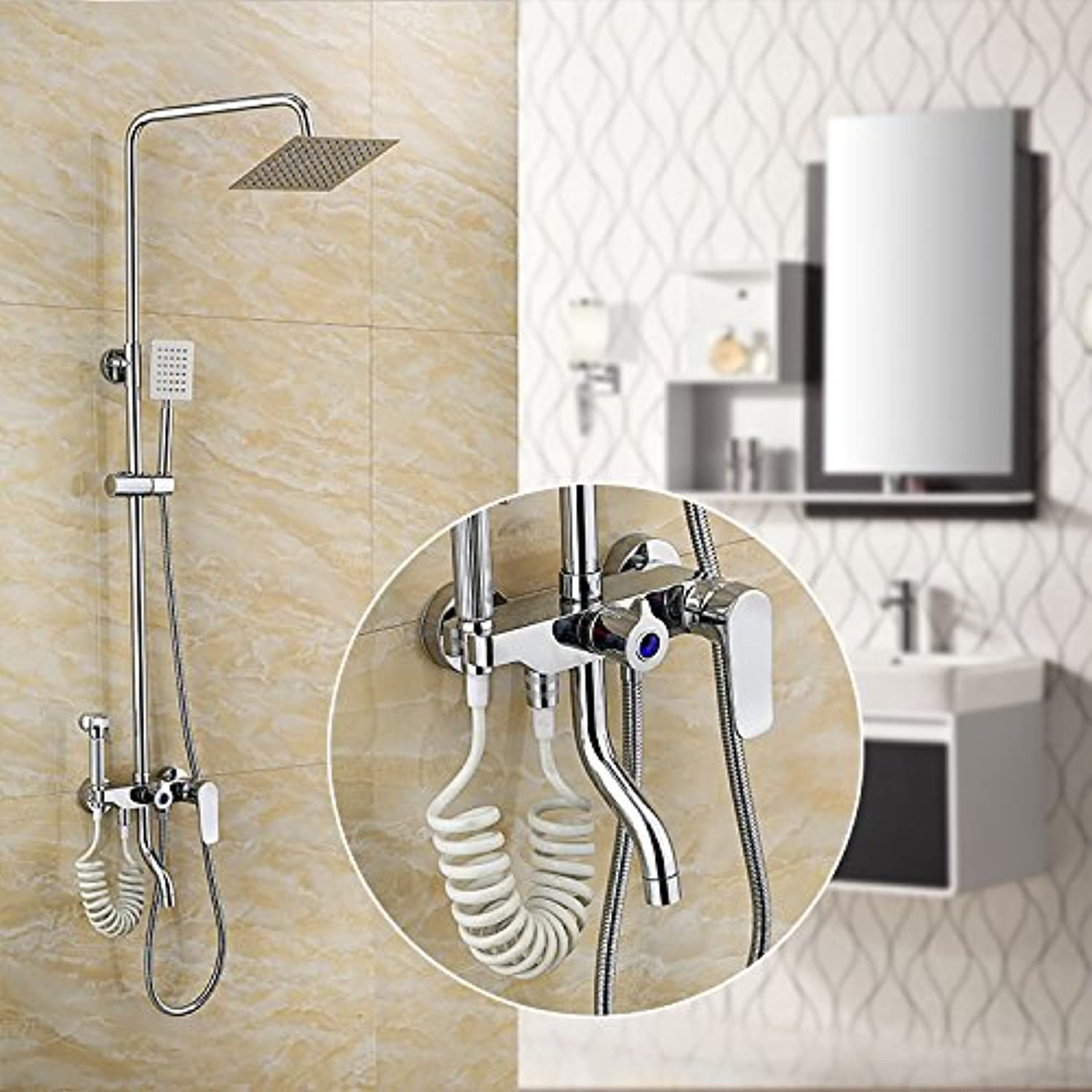 Hlluya Professional Sink Mixer Tap Kitchen Faucet The copper plate rolling four-door shower bath suite with a woman Washing with hot and cold water mix lift Shower Faucet