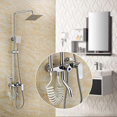 Bijjaladeva waterkraan badkamer waterval mengkraan wastafel De koperplaat rollende 4-deurs douche badkuip Suite met een vrouw wassen met warm en koud water mengsel