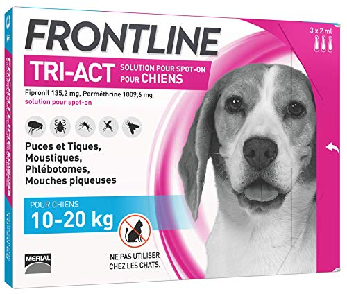 FRONTLINE TRI-ACT Chien - Anti-puces et anti-tiques pour chien - 10-20kg - 3 pipettes