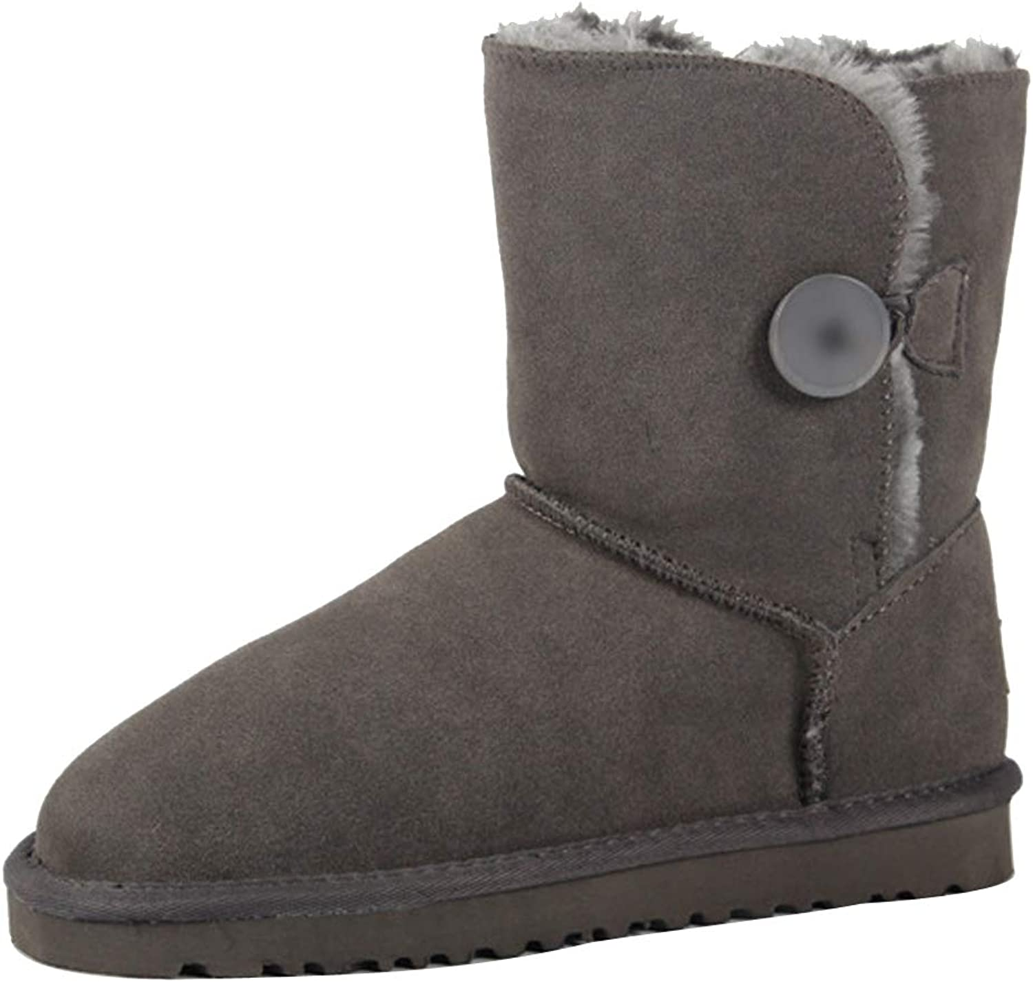 Themost Snow Boots Women's Suede Leather Sheepskin Fur Lining Winter Boot Walk Ankle Booties Grey