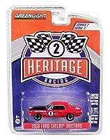 Greenlight 1968 フォード マスタング シェルビー #1 Ta Jerry Titus/Ronnie Bucknum レッド ブラックフード フォード レーシング ヘリテージシリーズ 2 1/64 ダイキャストモデルカー 13220 F