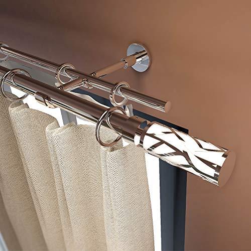 """Gcurtain Bastone per Tende Palo Set di Aste Doppie Estensibile Resistente Elemento Decorativo Disegnato a Specchio Diametro1-1 1/8"""" (25-28 mm) - Ramo Bianco / 66""""-120"""" (170-310cm)"""