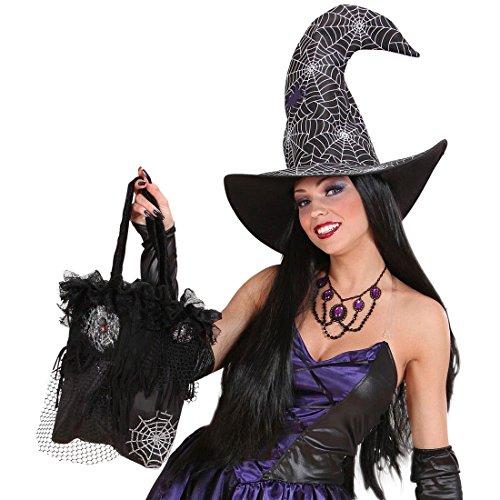 Amakando Sac à Main Toile d'araignée Sachet de sorcière Noir magicienne Sac à Bonbons Accessoire soirée à thème Halloween