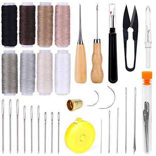 Riddur 32 Stücke Leder Nähen Set, Lederhandwerk Werkzeug mit 8 Farben Wachsfaden, Leder Nähen Nadeln, Ahle, Schere, Fingerhut, Maßband und Nahttrenner für Leder Nähen Handwerk